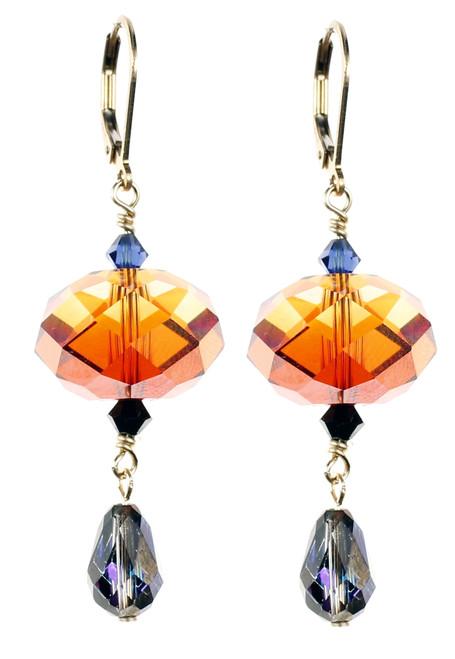 Blue & Orange Crystal Earrings - Tibetan Jewelry