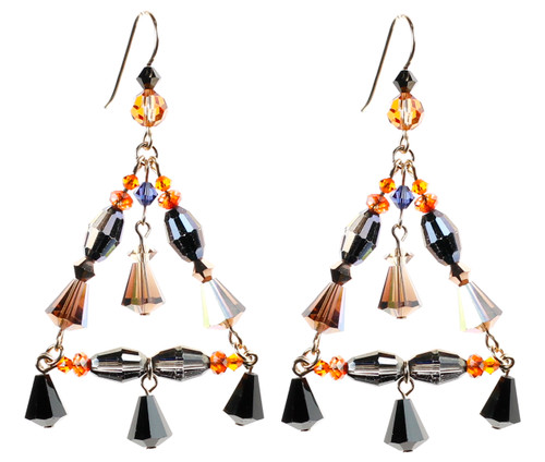 Crystal Triangle Chandelier Earrings - Tibetan