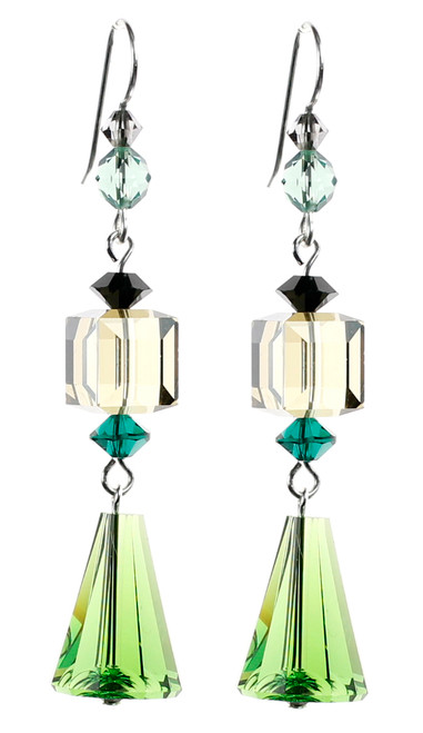 Green & Black Dangling Crystal Earrings