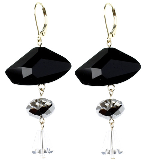 Edgy new earrings with cool geometric jet black Swarovski Crystal by the one and only Karen Curtis Jewelry Company in NYC