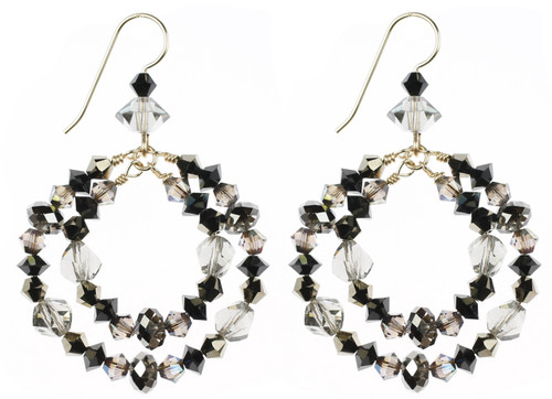 Amazing Double Hoop Crystal Earrings incorporating Crystals that are no longer being produced by The Swarovski Company.