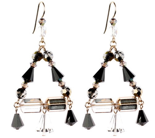 Triangular shaped chandelier earrings made with rare vintage Swarovski Crystal and 14KGF by the Karen Curtis Jewelry Company in NYC