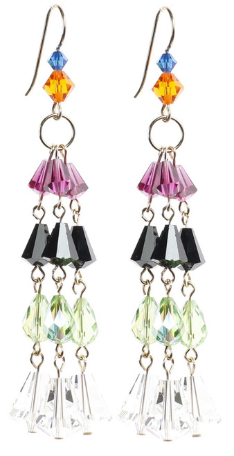 Colorful Chandelier Earrings made with Swarovski Crystal and 14K gold filled.