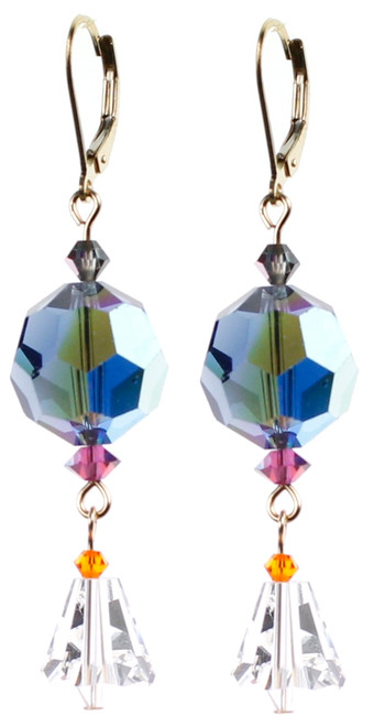 Fun Colorful Blue Swarovski Crystal Earrings with vintage Swarovski beads by Karen Curtis in NYC.