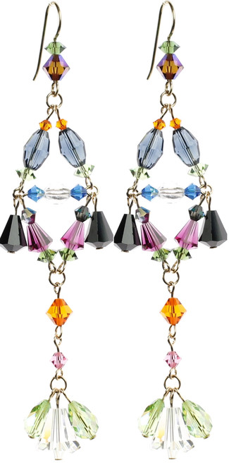 Colorful Shoulder Duster Earrings by Colorful Crystal Jewelry Designer Karen Curtis in NYC.