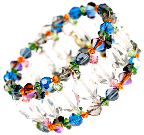 Clear crystal Cuff bracelet with colorful Swarovski crystal accents on the perimeter. Karen Curtis NYC