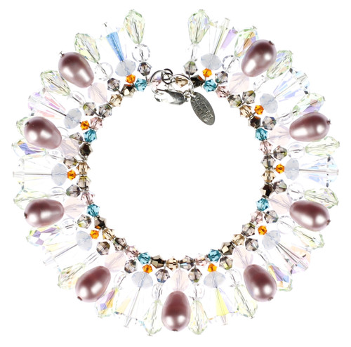 Beautiful Swarovski Crystal Bracelet made with colorful swarovski beads and pearls.