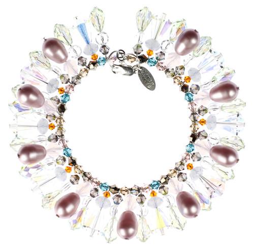 Beautiful Swarovski Crystal Bracelet made with colorful swarovski beads and pearls.