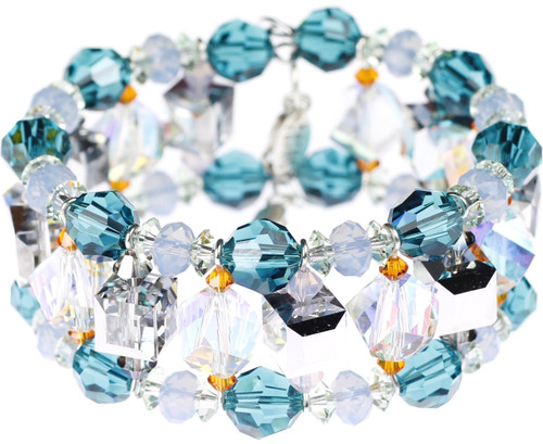 Designer cuff bracelet made with Swarovski Crystal and memory wire