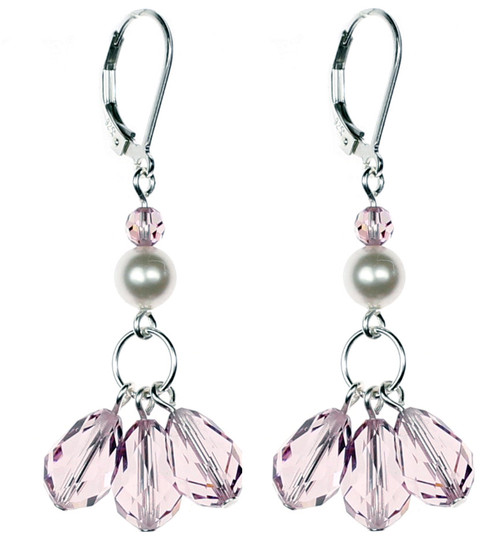 Clustered Light Amethyst Swarovski Crystal Earrings on Sterling Silver by The Karen Curtis Company in NYC