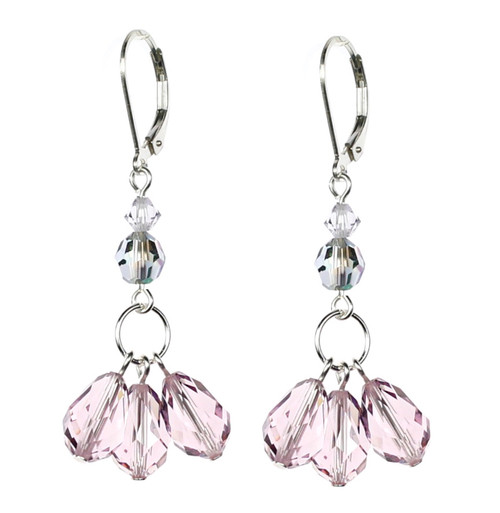 Light Amethyst Crystal Earrings made by The Karen Curtis Jewelry Company in NYC.