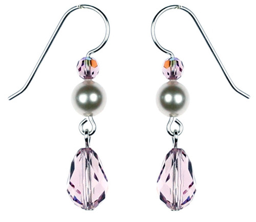 Light purple Crystal Earrings made in NYC by The Karen Curtis Jewelry Company.