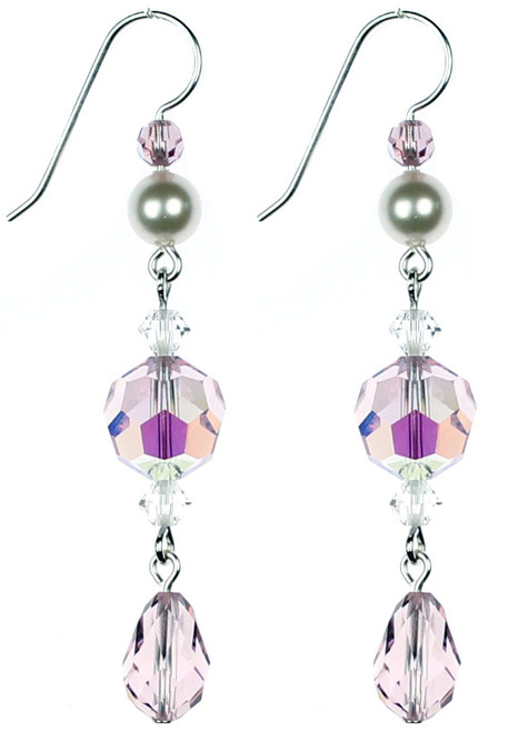Elegant purple Crystal Earrings made by NYC Jewelry Designer Karen Curtis.