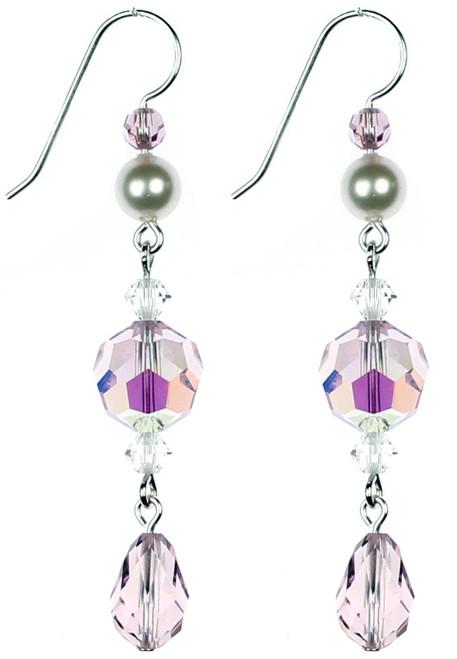 Elegant purple Crystal Earrings made by NYC Jewelry Designer Karen Curtis.