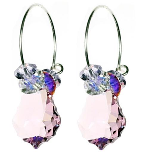 Amazing Colorful Crystal Hoop Earrings in Light Purple. Swarovski Crystal Jewelry Designer Karen Curtis.