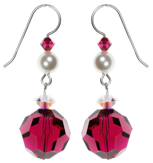 Fancy Red Crystal Earrings made with Sterling Silver and Crystals from Swarovski. Karen Curtis NYC