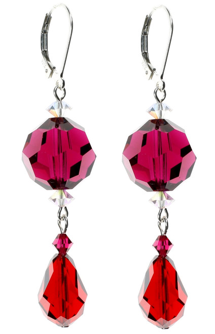 Brilliant Red Crystal Earrings by The Karen Curtis Company in NYC. July Birthstone Jewelry.