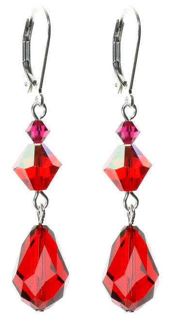 Red Crystal Dangle Earrings Crystals from Swarovski and Sterling Silver.