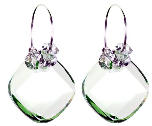 Peridot Crystal Hoop Earrings