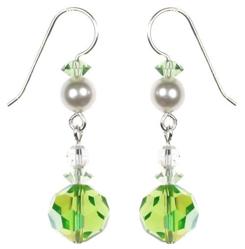 Round Peridot Drop Earrings with Ivory Pearl
