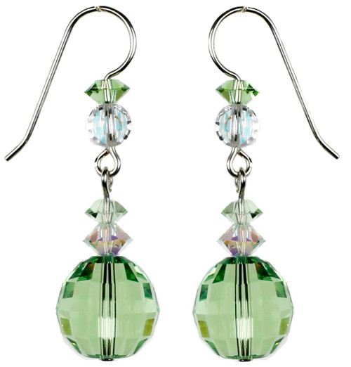 Green Crystal Peridot Earrings - August Birthstone