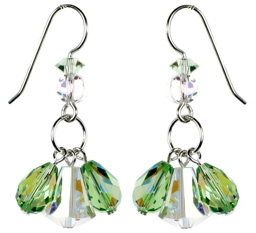 Peridot Green and Clear Triple Drop Earrings