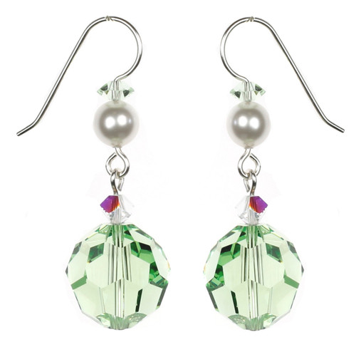 Round Peridot Green Crystal Earrings