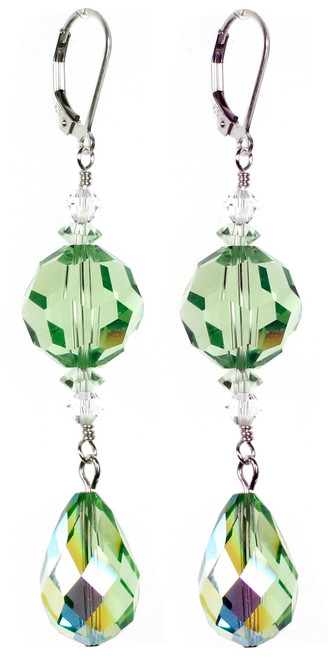 Elegant Crystal Statement Earrings - Peridot