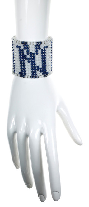 New York Yankees Crystal Cuff Bracelet by NYC Jewelry Designer Karen Curtis.