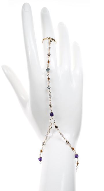 Swarovski Crystal Hand to Ring Bracelet - Victorian Colors