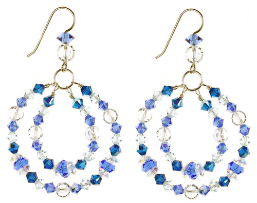 Blue hoop earrings with crystals from Swarovski. Birthstone jewelry by Karen Curtis NYC