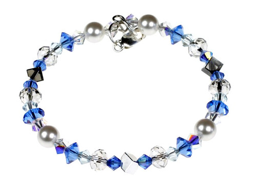 Swarovski Crystal  Blue Stackable Bracelet with Sterling Silver