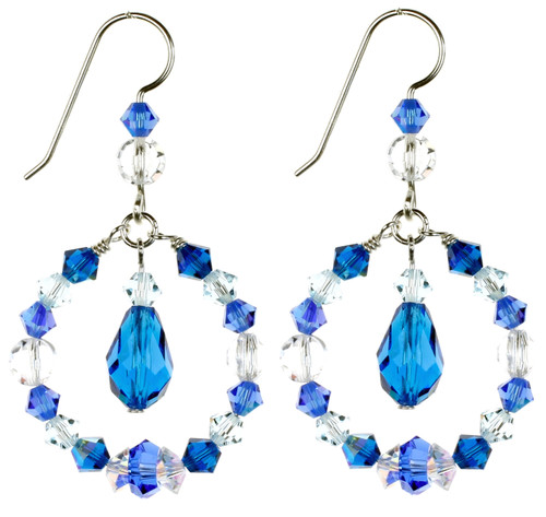 Blue Crystal Earrings made with Rare Crystals from Swarovski