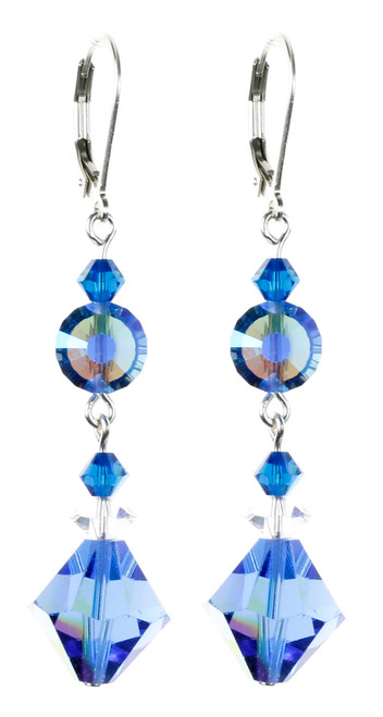 Blue Vintage Crystal Earrings by karen Curtis NYC
