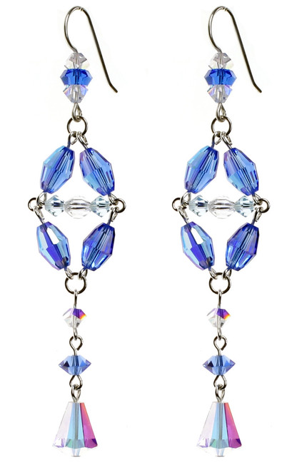 Shoulder duster earrings with silver and vintage blue crystals from Swarovski.
