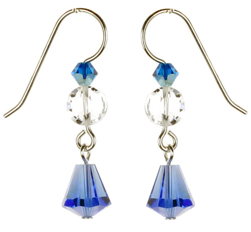 Blue Crystal Earrings by Karen Curtis NYC