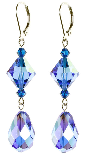 Sterling Silver Swarovski Crystal Vintage Classic Bold Statement Sapphire Blue Drop Earrings