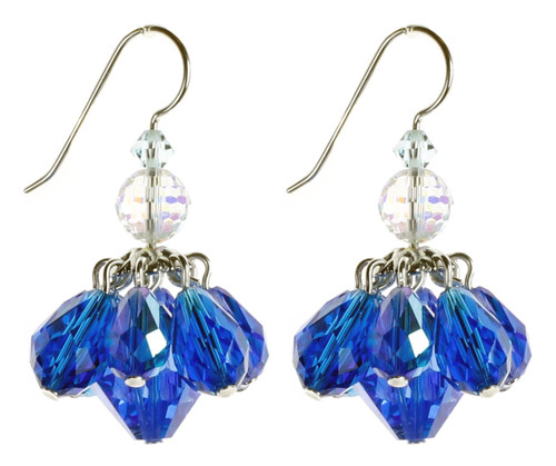 Blue Crystal Cluster Earrings by Karen Curtis NYC