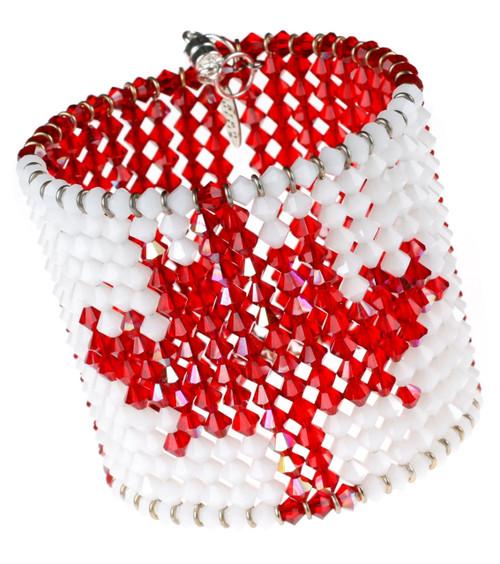 Canadian flag bracelet with 500+ Swarovski crystals