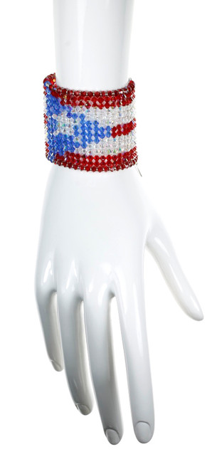 Puerto Rican Flag Cuff Bracelet made with Crystals from Swarovski