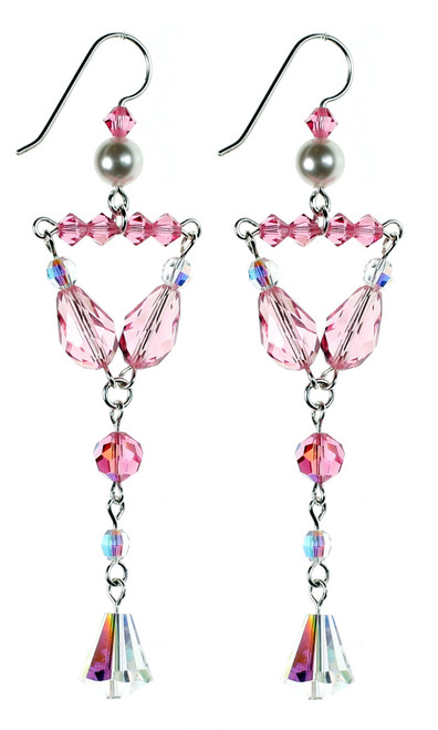Beautiful Pink Crystal Earrings - Karen Curtis NYC
