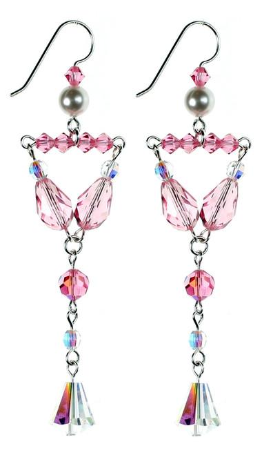 Beautiful Pink Crystal Earrings - Karen Curtis NYC