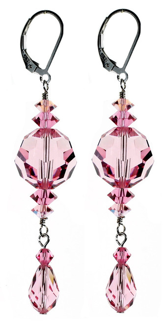 Elegant Pink Crystal Earrings by Karen Curtis NYC