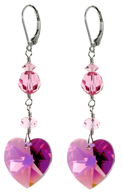 Pink Crystal Heart Earrings. Vintage 1930's Crystals from Swarovski and Sterling Silver