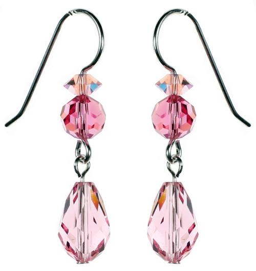 Light Rose Crystal Dangle Earrings