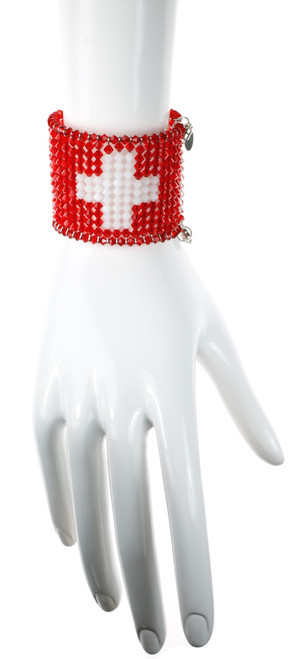 Red and White crystal bracelet with flag of Switzerland design