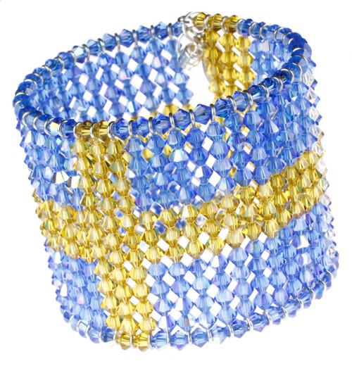 High end Crystal bracelet with Swedish Flag design.