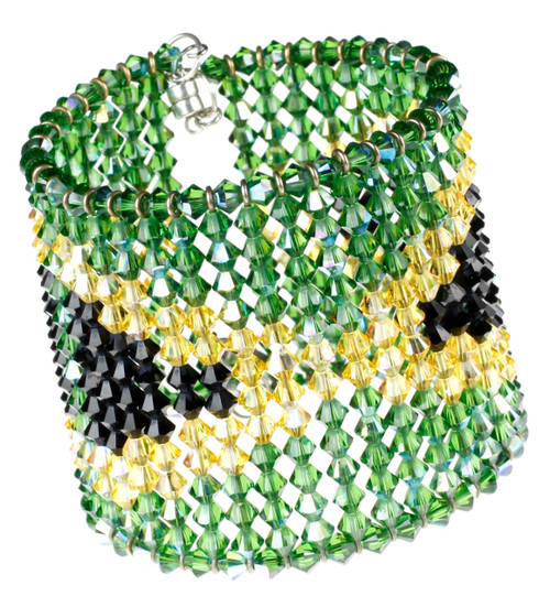 Swarovski Crystal Bracelet with Jamaican Flag Pattern