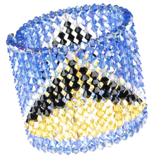 Hand Made Limited Edition St Lucia Flag Crystal Cuff Bracelet