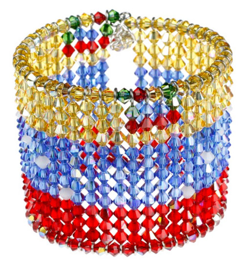 Jewelry made with Swarovski Crystal. Flag of Venezuela Cuff Bracelet.